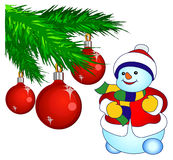 Pupazzo di neve sorridente nel bianco royalty illustrazione gratis