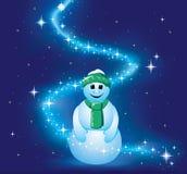 Pupazzo di neve sorridente in stelle luminose. Immagine Stock