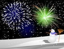 Pupazzo di neve sotto il fuoco d'artificio Fotografie Stock Libere da Diritti