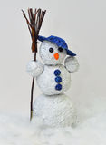 Pupazzo di neve - stagnola e lana dell'incisione Immagini Stock Libere da Diritti