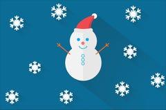 Pupazzo di neve su priorità bassa blu Immagine Stock