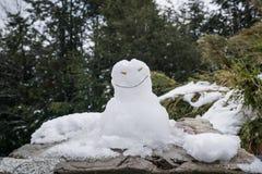 Pupazzo di neve su una roccia nelle montagne fotografie stock