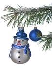Pupazzo di neve sull'albero di Natale Immagini Stock Libere da Diritti