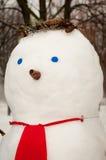 Pupazzo di neve sveglio all'aperto Fotografia Stock