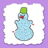 Pupazzo di neve sveglio del labirinto Gioco per i bambini Puzzle per i bambini Stile del fumetto Enigma del labirinto Illustrazio royalty illustrazione gratis