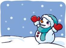 Pupazzo di neve un giorno nevoso royalty illustrazione gratis