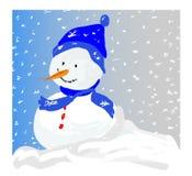 Pupazzo di neve in una bufera di neve fotografie stock libere da diritti