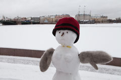 Pupazzo di neve in vestiti di inverno Immagini Stock Libere da Diritti