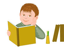 Pupil. The boy with the book an illustration on a white background Royalty Free Stock Photos