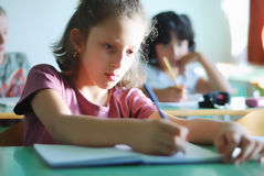 Pupil activities in the classroom Royalty Free Stock Image