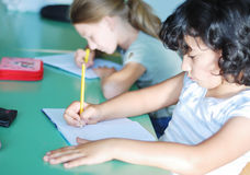 Pupil activities in the classroom Stock Image