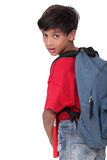 Pupil with backpack Royalty Free Stock Photography