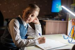 Pupil boy does his homework Royalty Free Stock Photography
