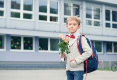 Pupil boy near the school Royalty Free Stock Photography