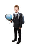 Pupil in business suit holding Earth globe and school backpack Stock Photo