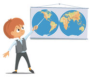 The pupil in the classroom stands near the world map. The pupil at the school in the classroom stands near the world map. Vector Illustration Stock Photo