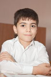 Pupil with a copybook Stock Photo