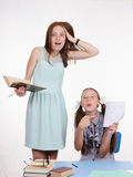 Pupil did not fulfill the task and hurt teachers Stock Image