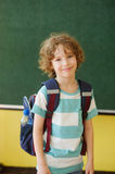 Pupil of elementary school stands in the class near a board. The pupil of elementary school stands in the class near a board. Behind shoulders at it a school Stock Photo