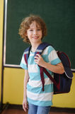 Pupil of elementary school stands in the class near a board. Stock Photos
