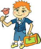 Pupil of the first class of red-haired boy. vector illustration Stock Photos
