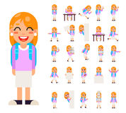 Pupil Girl School Children Student in Different Poses and Actions Teen Characters Kid Icons Set Isolated Education Royalty Free Stock Images