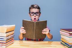 Pupil in glasses getting knowledge from a textbook. Young pupil in glasses getting knowledge from a textbook. Education concept Stock Image