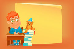 Pupil in glasses siting at school table with teddy bear Royalty Free Stock Images