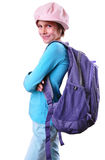 Pupil of grade school with backpack and books Stock Images