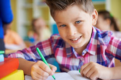 Pupil at lesson Royalty Free Stock Image