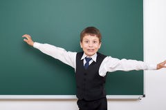 Pupil posing at school board, empty space, education concept Stock Image