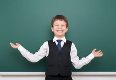 Pupil posing at school board, empty space, education concept Stock Photo