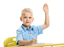 Pupil with raised hand Stock Images