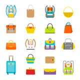 Pupil s Colorful Backpacks Set. Set of stylish women s handbags - tote, shopper, hobo, bucket, satchel and pouch bags. Colourful ladies and mans handbags Royalty Free Stock Image