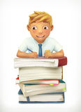 Pupil and school textbooks Royalty Free Stock Photo