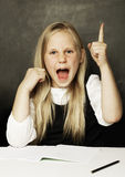 Pupil in school uniform, girl with open mouth Royalty Free Stock Images