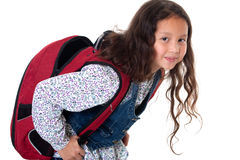 Pupil with schoolbag. Heavy burden on the back of the child Stock Images