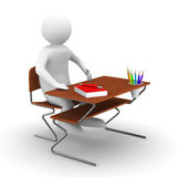 Pupil sits at school desk. Isolated 3D Royalty Free Stock Images