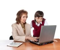 Pupil and teacher Stock Photography