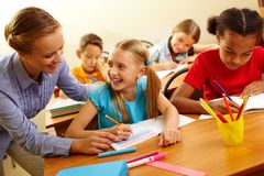 Pupil and teacher Royalty Free Stock Photo