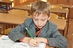 Pupil wrote in a copybook Stock Images