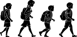 Pupils with Backpack Royalty Free Stock Photos