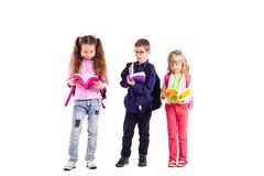 Pupils with backpacks royalty free stock photo