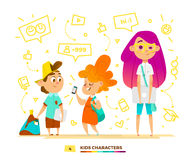 Pupils characters communication Stock Image
