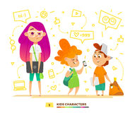Pupils characters communication Royalty Free Stock Photography