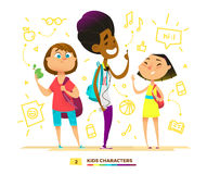 Pupils characters together. Stock Photo