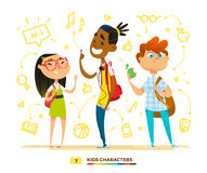 Pupils characters together. Royalty Free Stock Photography