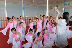 Pupils on chinese traditional folk dance lesson Stock Photo