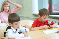 Pupils in a class. School change stock photography