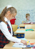 Pupils in a class. School change stock images